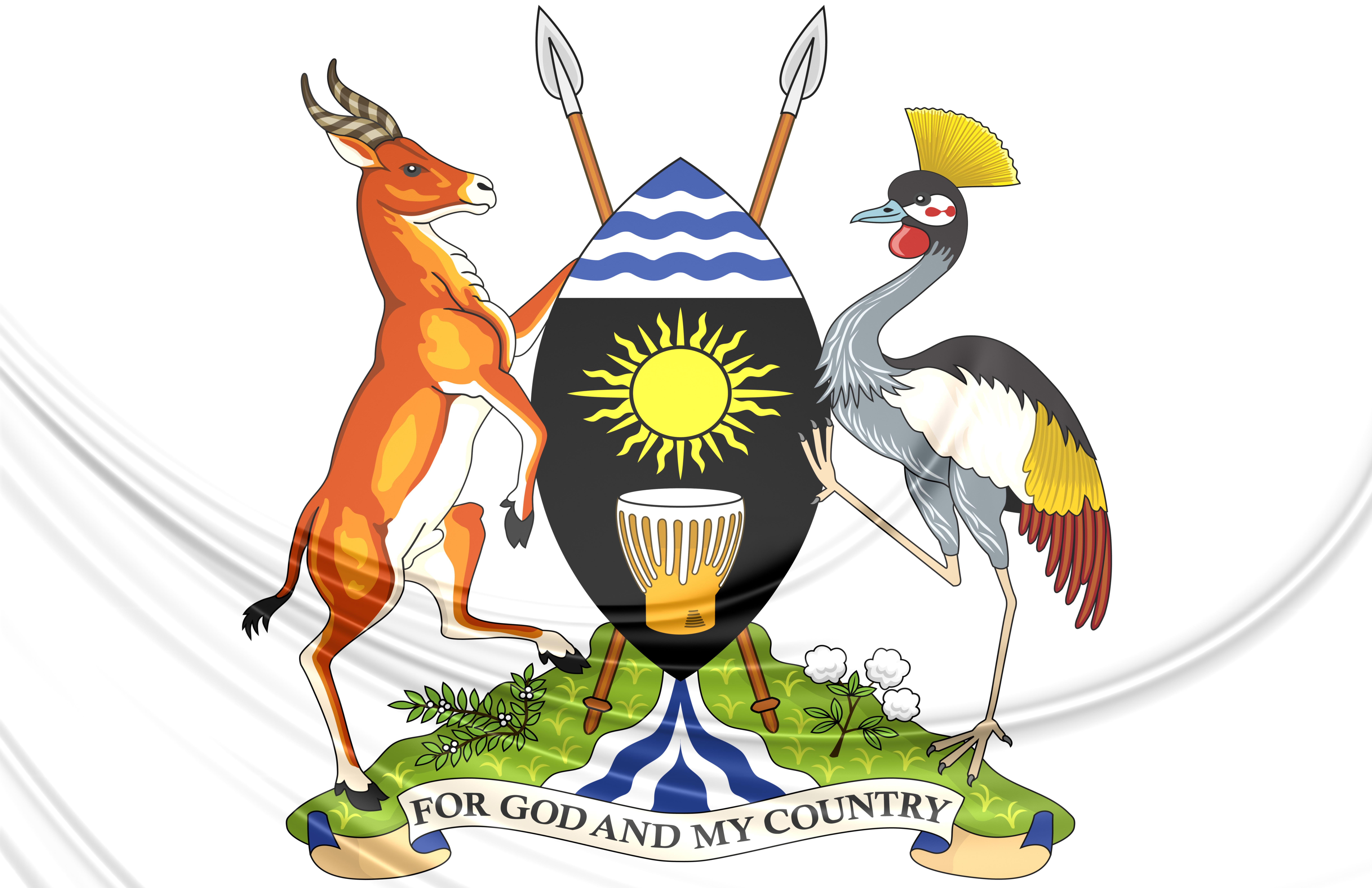 3D Uganda Coat of Arms. Close Up.