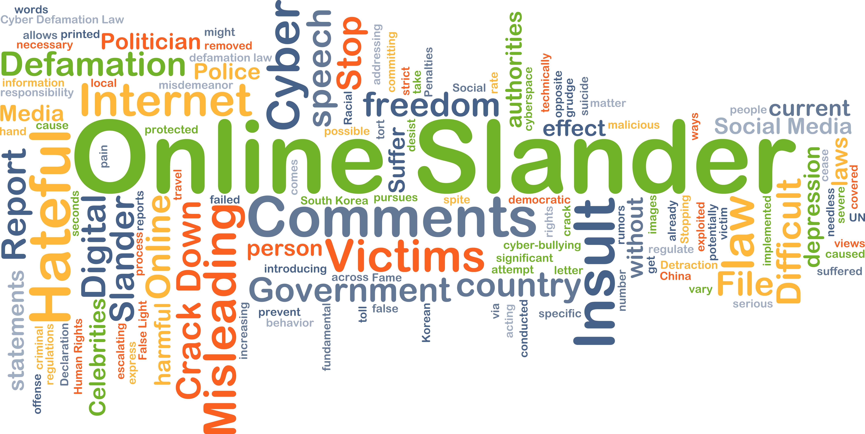 Background concept wordcloud illustration of online slander