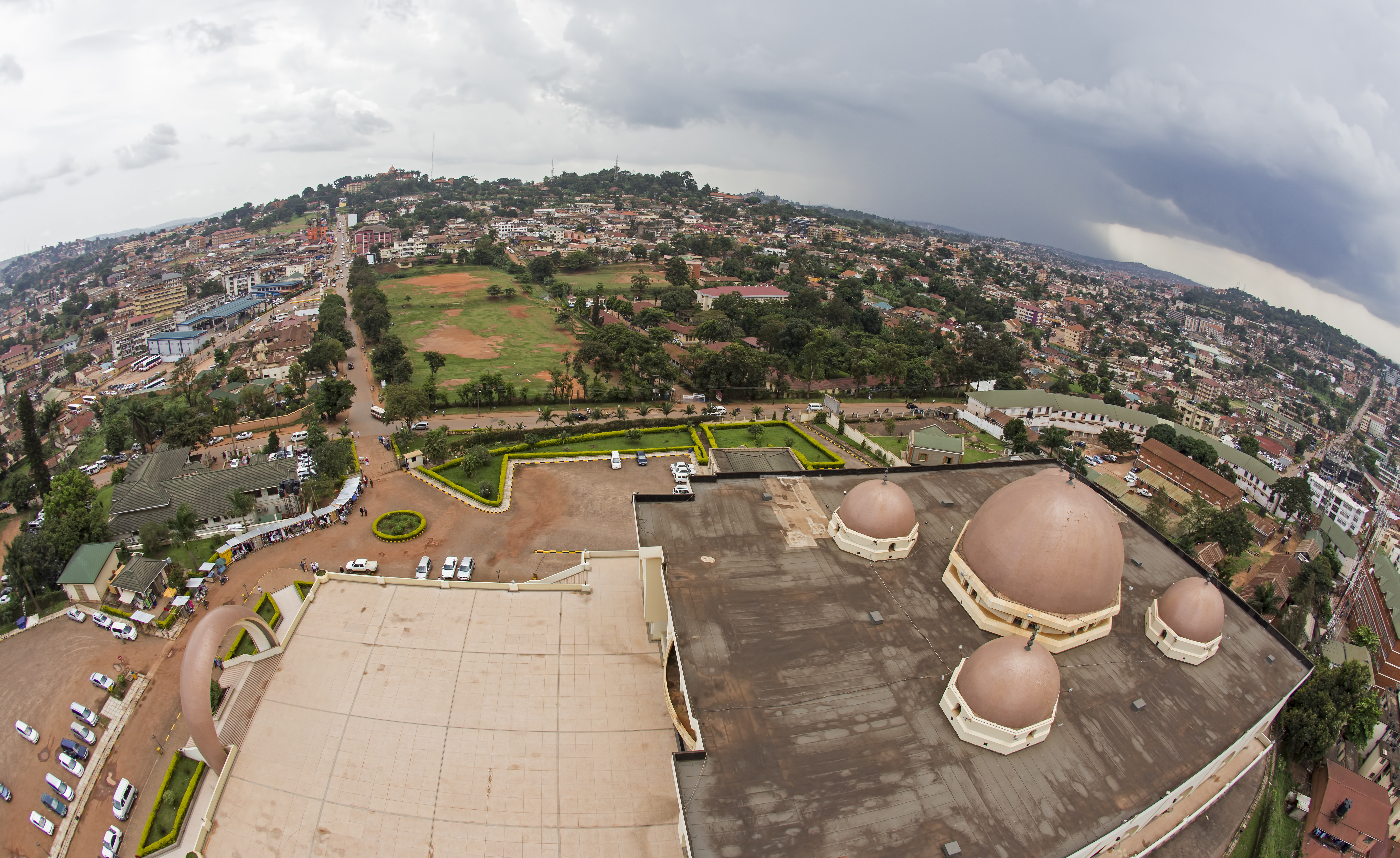 Fisheye view of Kampala city in Uganda