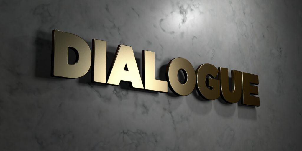 Dialogue - grungy wooden headline on Maple wall - 3D rendered stock image